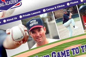 Mike Roza's Pitching Academy web design